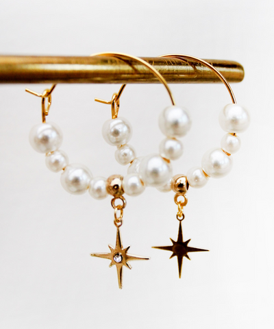 Shining Star Faux Pearl Golden Hoops