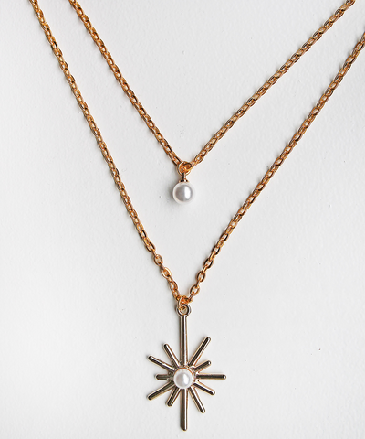 Star and Pearl Double Necklace