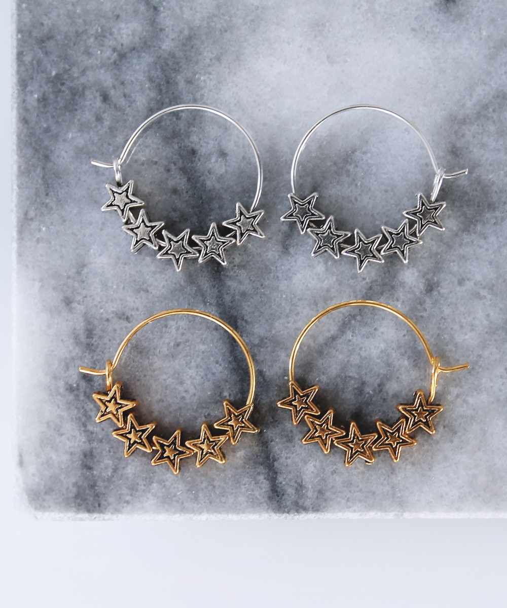 Star Hoops - Gold/Silver