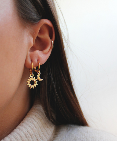 Sun & Moon Golden Hoops