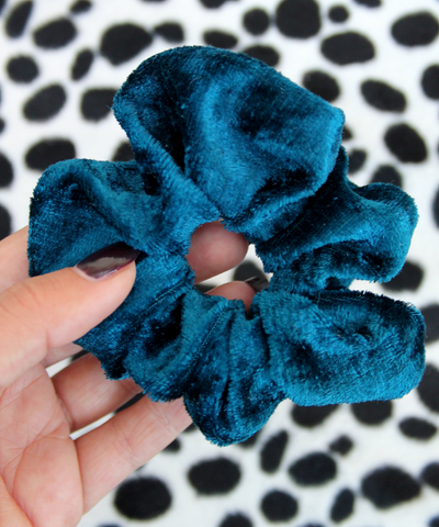 Teal Blue Crushed Velvet Hair Band Scrunchie