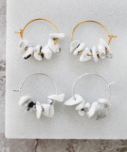 White Marble Hoops - Gold/Silver