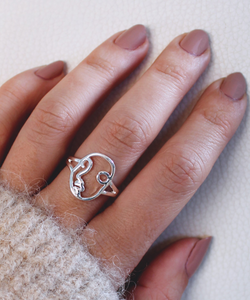 Women's Face Ring - Silver