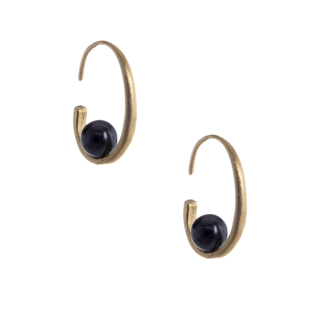 Gold Black Pearl Hoops