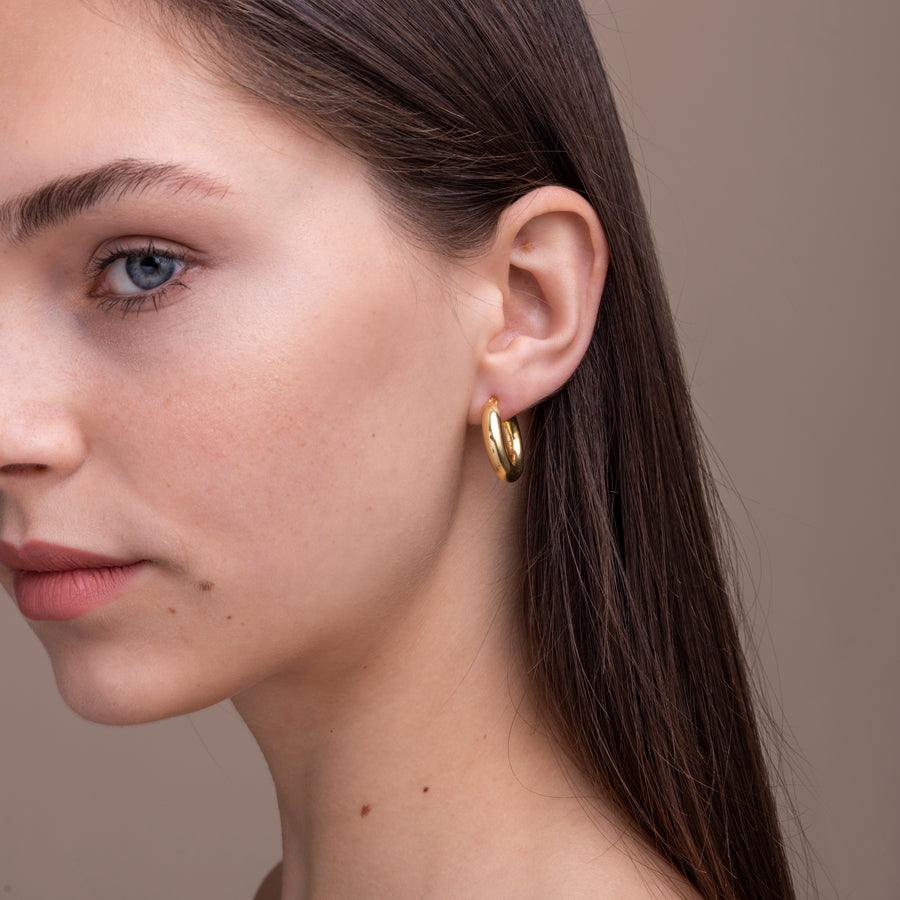 Thick Gold Hoops (small)