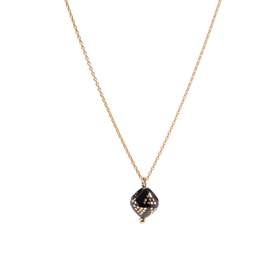 Anatolian Pearl - 14k Solid Gold & Jet Stone - Inlay Work