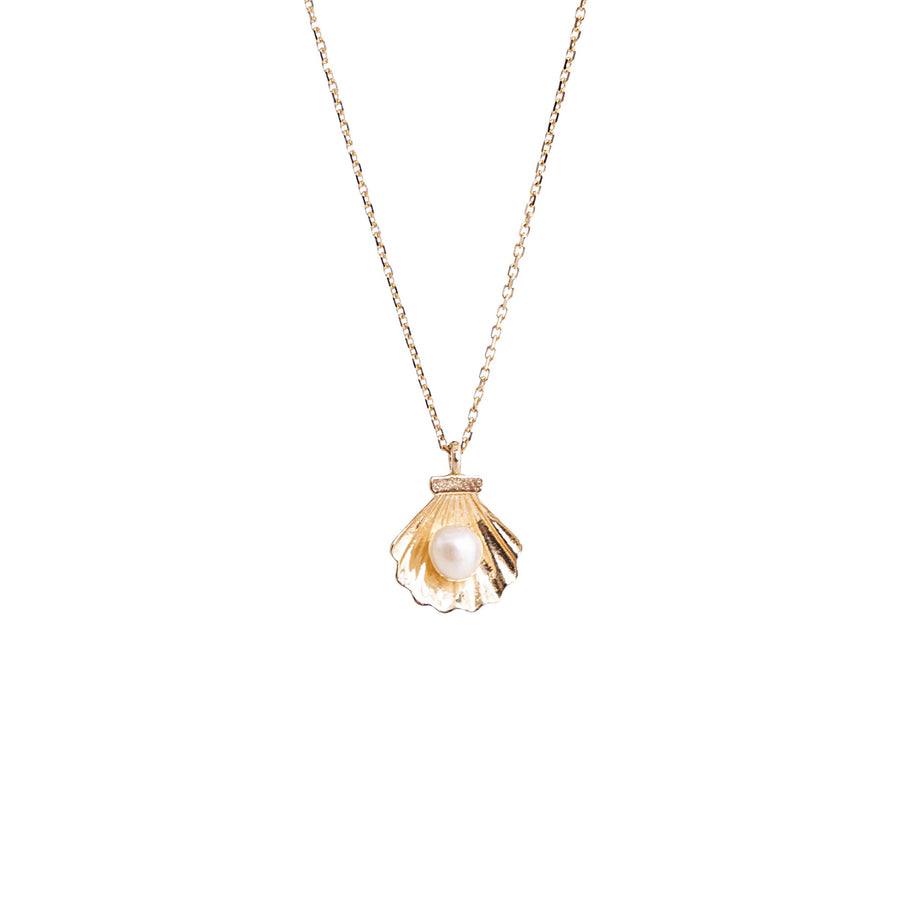 14k Gold Pearl Shell Necklace