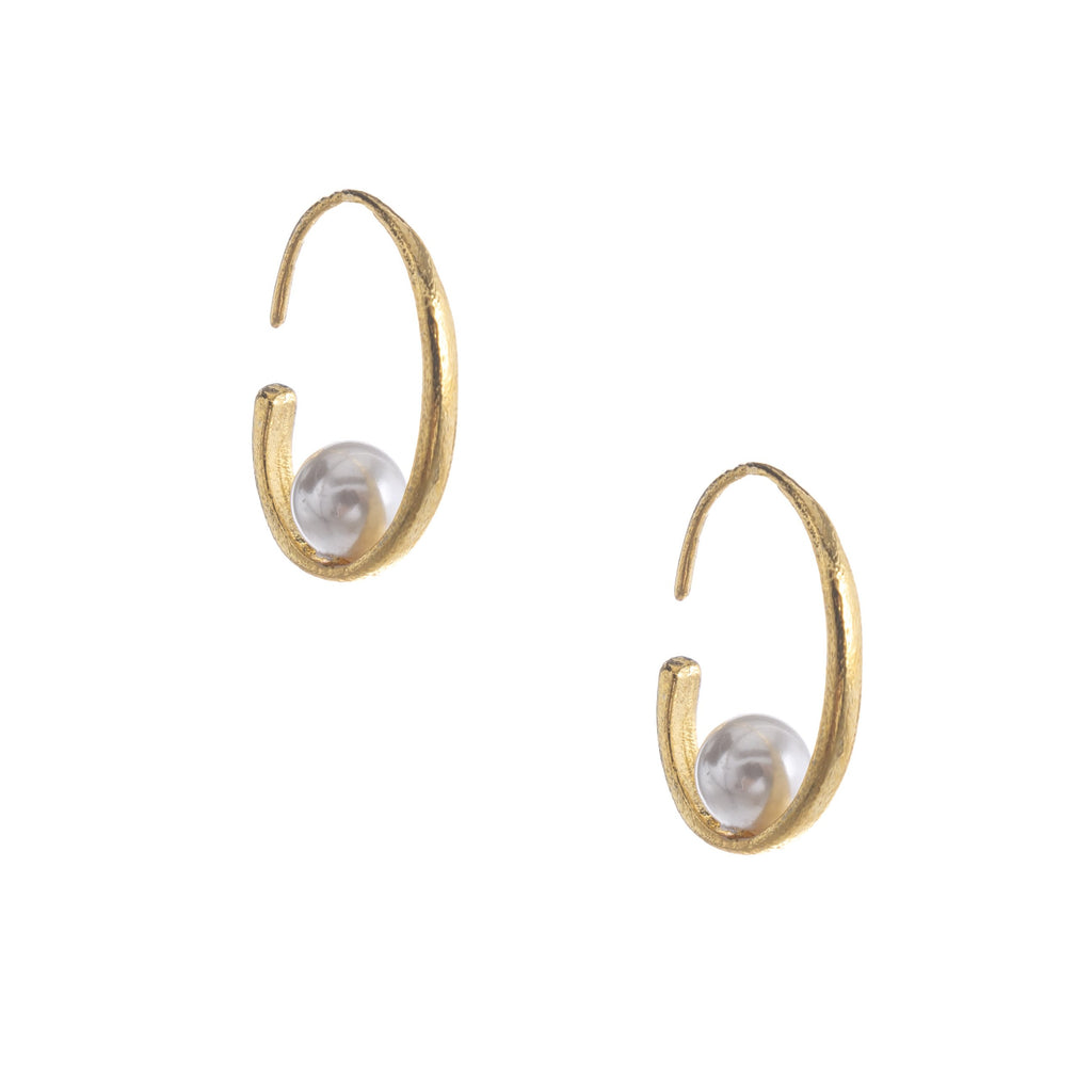 Gold White Pearl Hoops