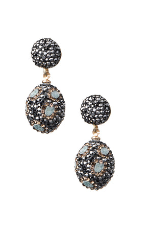 Marcasite earrings with blue stone
