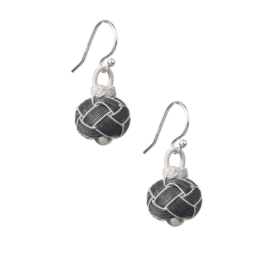 Circassian Woven Silver Earrings (dark)