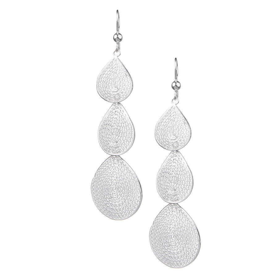 Silver Filigree Triple Drop Earrings