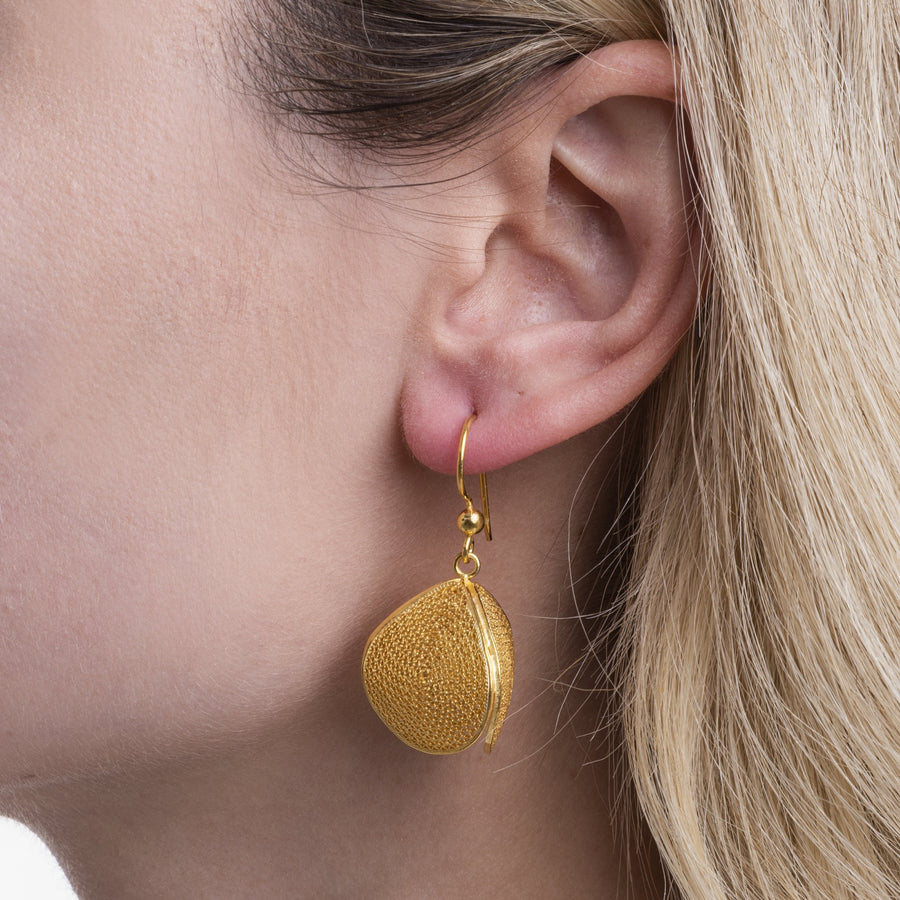 Gold Filigree Prism Earrings