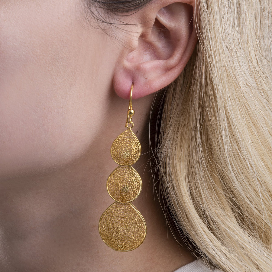 Gold Filigree Triple Drop Earrings