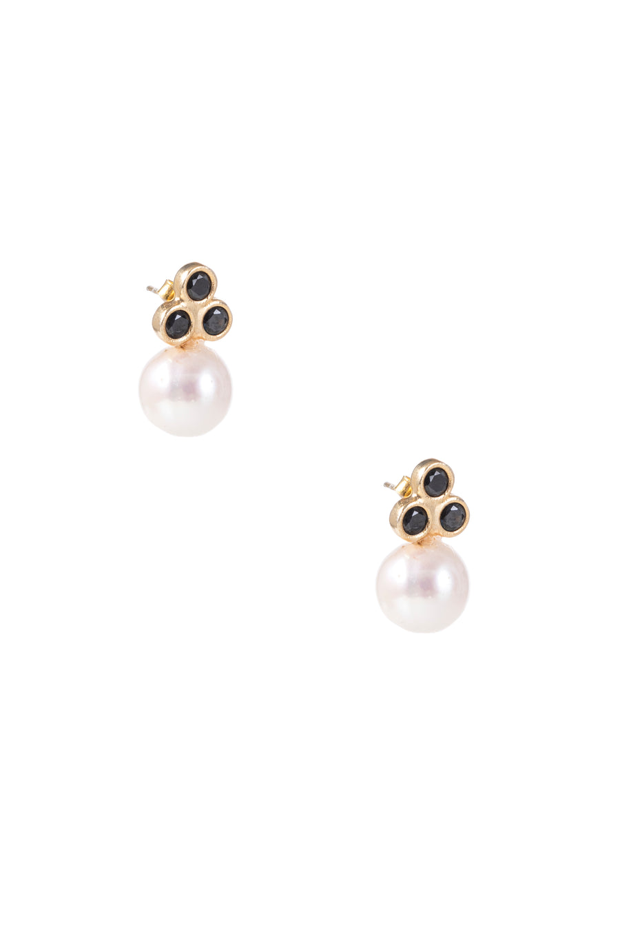 Sarah Triple-Stone Pearl Earrings