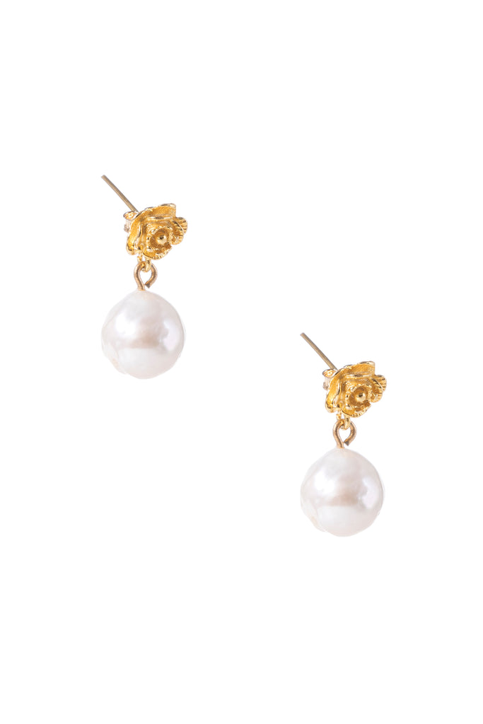Gold Rose Pearl Earrings