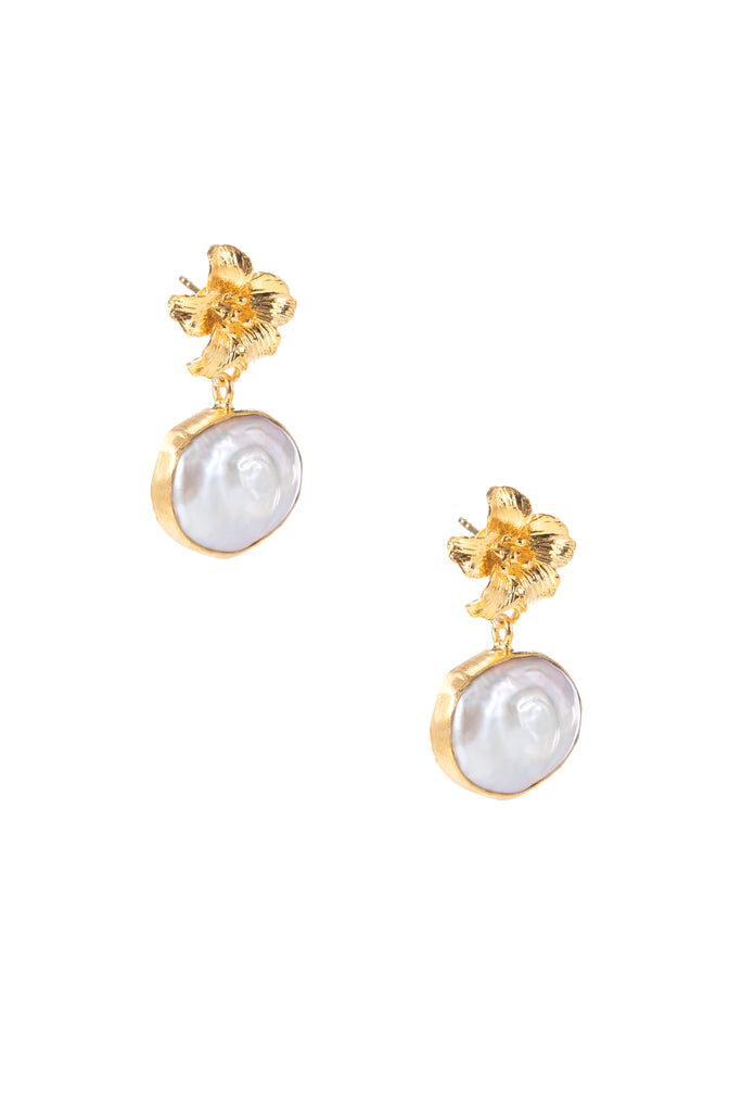 Gold Flower Pearl Earrings