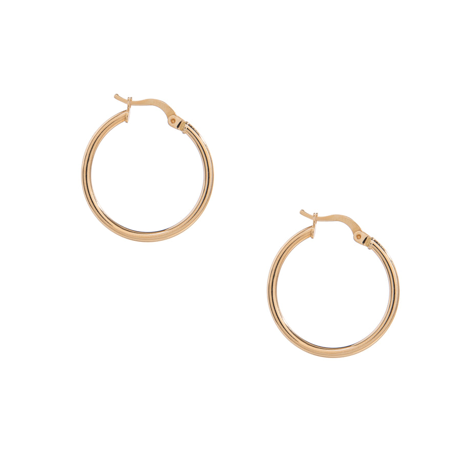 14k Solid Gold Thin Hoops (medium)