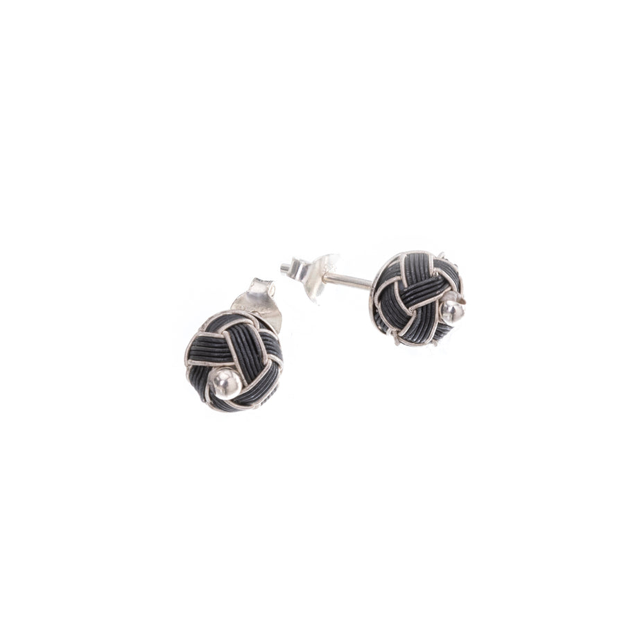 Woven Silver Earrings (dark)