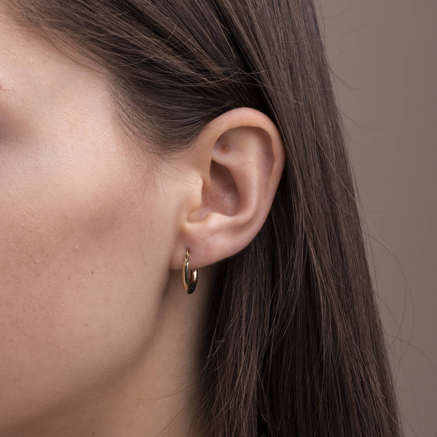 14k Solid Gold Oval Hoops