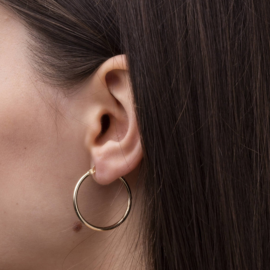 14k Solid Gold Thin Hoops (large)