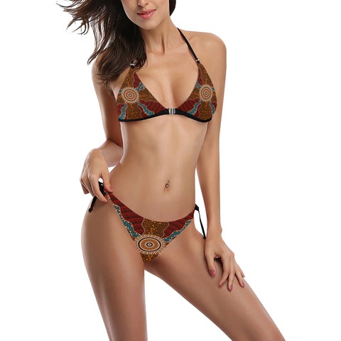 Image of Australia Swimsuit Buckle Front Halter Bikini Aboriginal 06