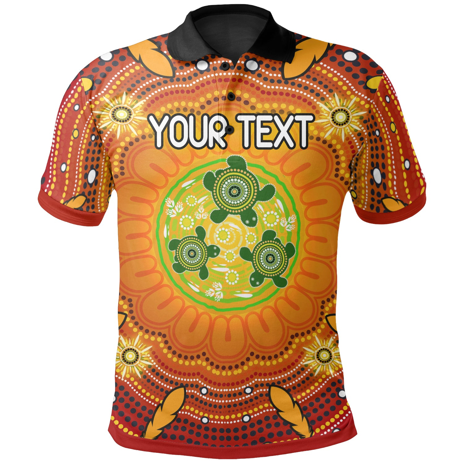 [Custom Text] 1stAustralia Aboriginal Kid Polo Shirt - Turtle Circle Dot Painting Art
