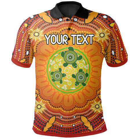 [Custom Text] 1stAustralia Aboriginal Polo Shirts - Turtle Circle Dot Painting Art