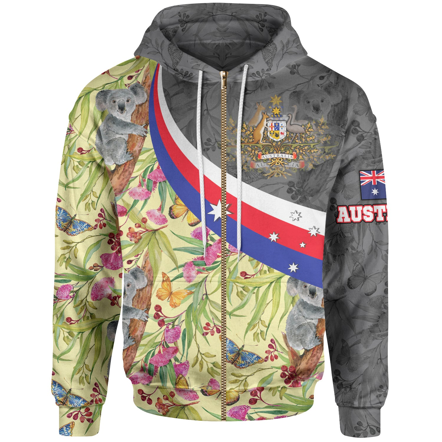 1stAustralia Zip-up Hoodie, Australia Coat Of Arms with Koala Patterns Ver01