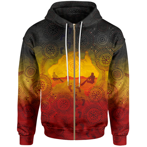 1stAustralia Aboriginal Zip-Up Hoodie, Australian Map with  Indigenous Color