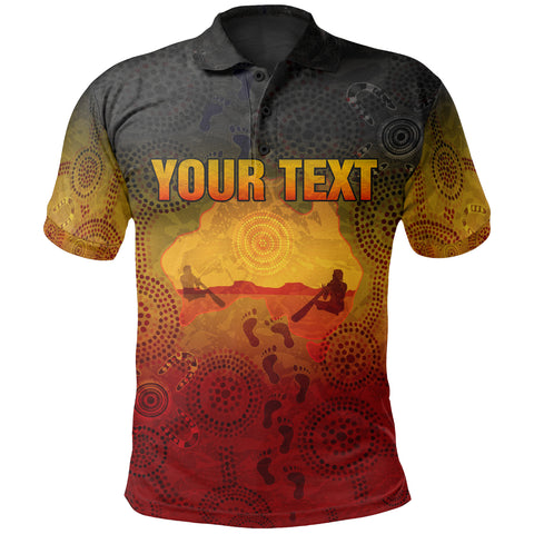 [Custom] 1stAustralia Aboriginal Polo Shirt, Australian Map with  Indigenous Color