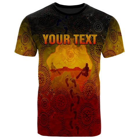 [Custom] 1stAustralia Aboriginal T-Shirts, Australian Map with  Indigenous Color
