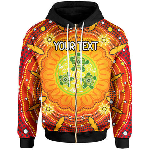 [Custom Text] 1stAustralia Aboriginal Zip-up Hoodie - Turtle Circle Dot Painting Art - BN18