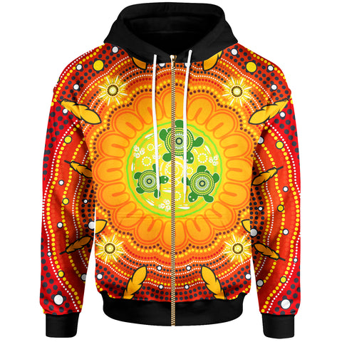 1stAustralia Aboriginal Zip-Up Hoodie , Turtle Circle Dot Painting Art