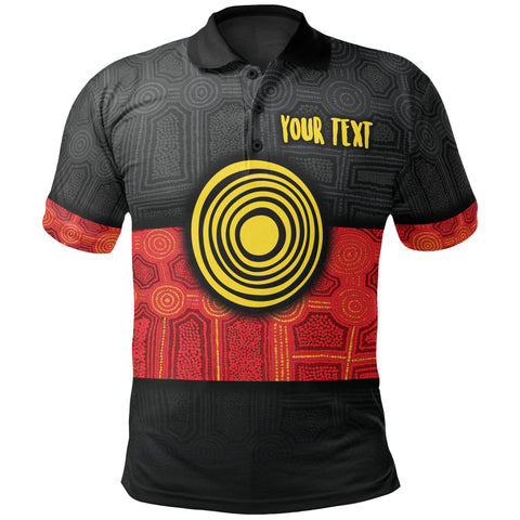 1stAustralia Personalised Aboriginal Polo Shirt - Aussie Indigenous Flag