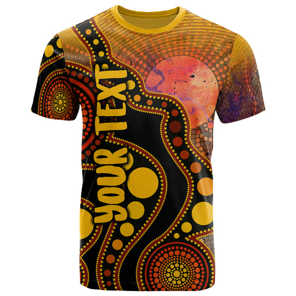 1stAustralia T-shirt Australia Indigenous Flag Circle Dot Painting Art T-shirt - Unisex