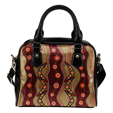 1stAustralia Shoulder Handbag - Aboriginal Handbag Boomerang Patterns