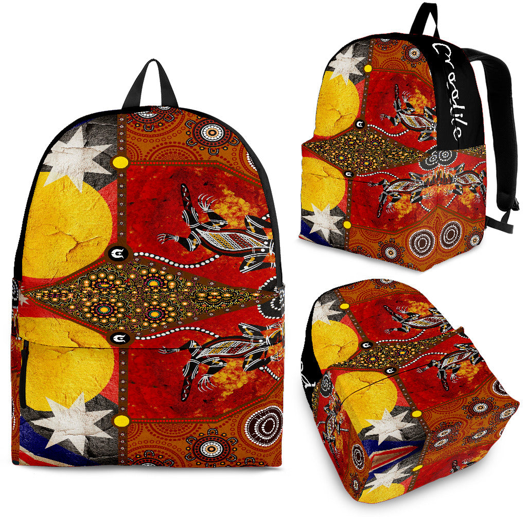 1stAustralia Backpack - Aboriginal Dot Painting & Flags, Crocodile