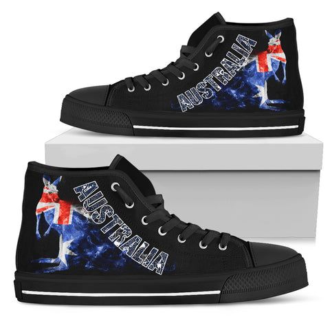 Image of Australia Shoes (High Top) - Australia Flag Kangaroo Faded Smoke - BN14
