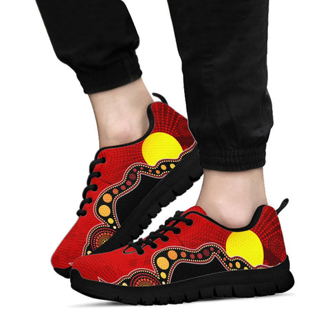 1stAustralia Aboriginal Sneakers - Australia Indigenous Flag Circle Dot Painting Art