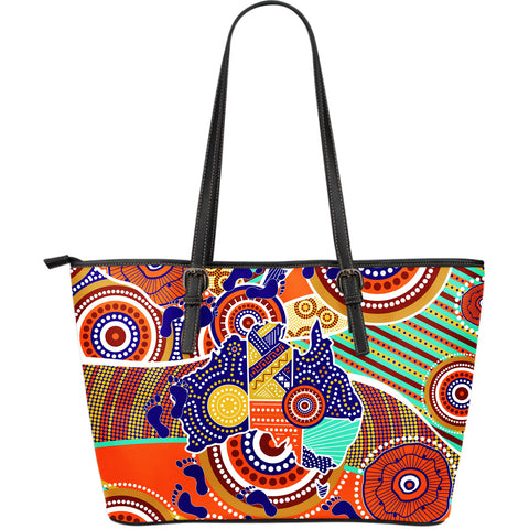 1stAustralia Aboriginal Leather Tote Bag - Australian Map Dot Painting