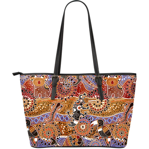 1stAustralia Leather Tote - Aboriginal Patterns Bag Animals Bohemian
