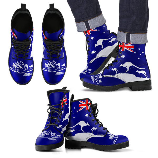 1stAustralia Leather Boots - Sydney Opera Shoes Aus Flag - Unisex - Th9