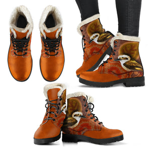 Kookaburra Boots Faux Fur Leather Women Size