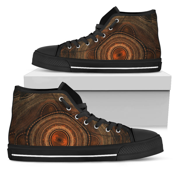 1stAustralia Canvas Shoes - Aboriginal Dot Painting Shoes Ver09 - High Top - Th1