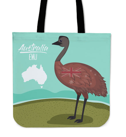 Australia Tote Bags Emu With Map And Flag
