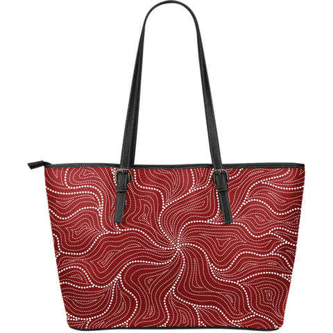 1stAustralia Aboriginal Leather Tote Bag, Australian Red Dot Painting Bag