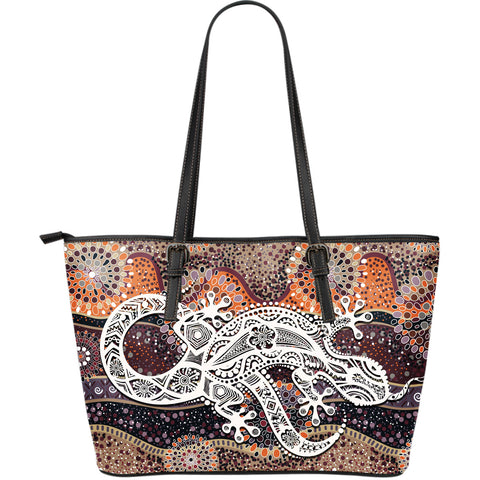 1stAustralia Aboriginal Leather Tote Bag, Australian Lizard Dot Painting Bag