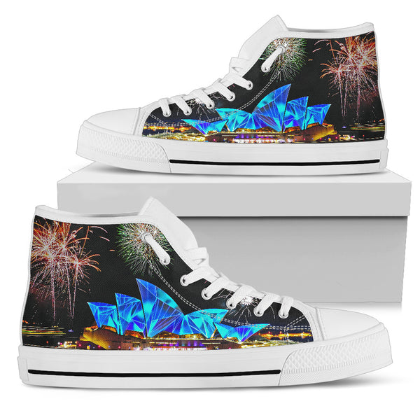 1stAustralia Canvas Shoes - Sydney Opera Shoes Midnight Beautiful - High Top - Th1