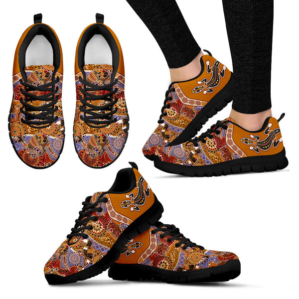 1stAustralia Aboriginal Sneakers, Lizard Shoes Boomerang Patterns Kangaroo Koala - Bn14