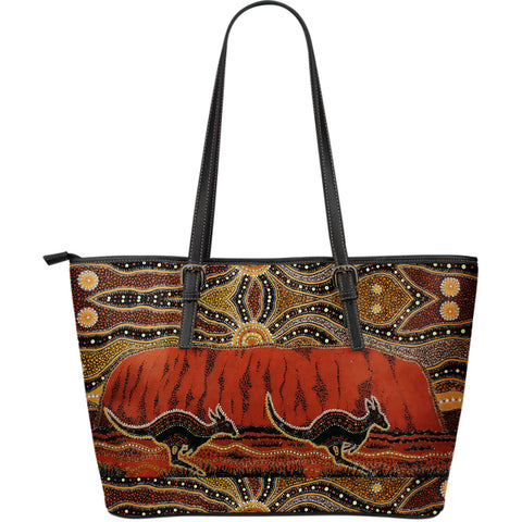 Australia Large Leather Tote Kangaroo Aboriginal